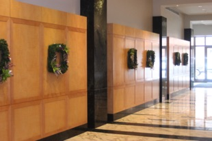 Square Wreaths in Lobby